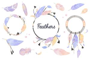 Illustrazione di dreamcatcher decorato con piume