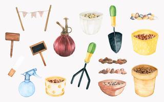 Ensemble d'outils de jardinage dessinés à la main