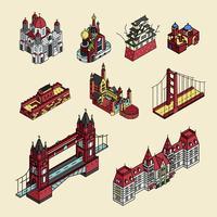 Ilustración de la colección de lugares turísticos más conocidos del mundo.