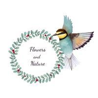 Illustration of Bee eater bird isolated on white background
