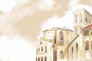 Illustration av Medelhavsbyggnadens exteriör vattenfärgsstil