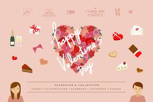 Illustraties van Valentine's items