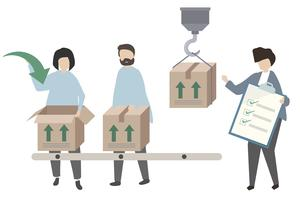 Trabajadores empacando mercadería para reparto de ilustración