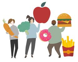 Healthy and unhealthy diet concept illustration