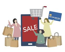 Winkelen en e-commerce concept illustratie