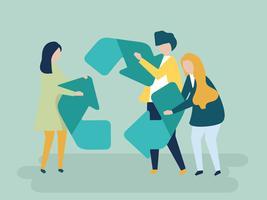 Personagem de pessoas segurando uma ilustração do símbolo de reciclagem