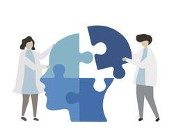 Teamwork oplossen van menselijke geest puzzel
