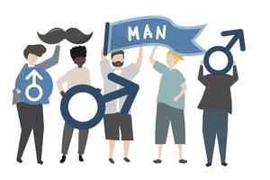 Men holding masculine and gentleman concept icons illustration