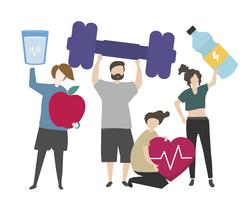 People with fitness concept illustration