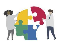 Travail d'équipe résoudre le puzzle de l'esprit humain
