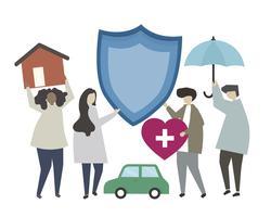 Pessoas de caráter e ícones de seguros