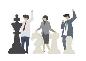 Leadership with chess strategy concept illustration vector