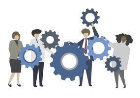 Geschäftsleute und Teamwork-Konzeptillustration