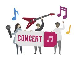 Musiciens jouant au concert illustration