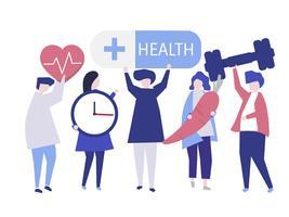 Charactes de personas con iconos de salud ilustración