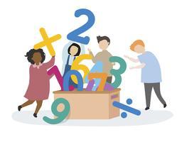 Niños aprendiendo números y matemáticas