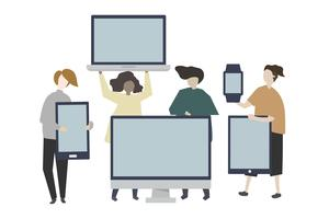Group of friends with digital device illustration