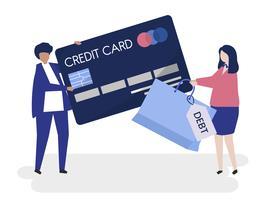 Caracteres de la gente y tarjeta de crédito concepto de deuda ilustración