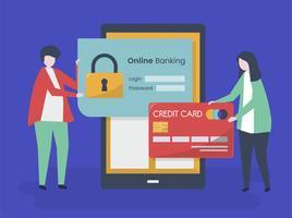Personajes de personas y la ilustración de concepto de seguridad de banca en línea