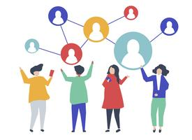 Characters of people and their social network illustration