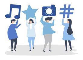 Caratteri della gente che tiene l'illustrazione delle icone di media sociali