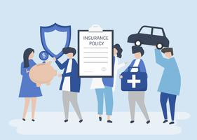 Tecken på personer som innehar försäkring ikoner illustration