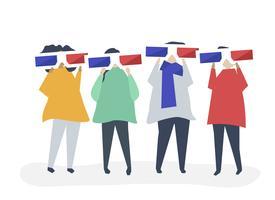 Caractères de personnes tenant des lunettes 3d illustration