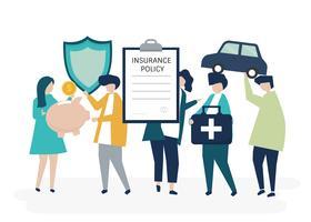 Karakters van mensen die de illustratie van verzekeringspictogrammen houden