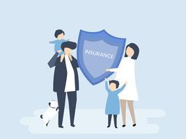 Personagem de uma família segurando uma ilustração de seguro