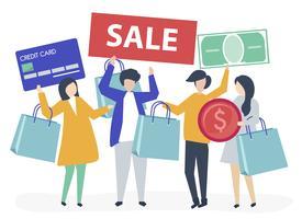 Personajes de personas sosteniendo compras iconos ilustración