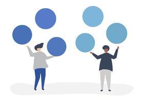 Caratteri della gente con l'illustrazione delle icone del cerchio dello spazio della copia
