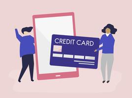 People making an online credit card transaction illustration