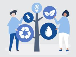 Personagens de pessoas e uma árvore de ícones ambientais ilustração