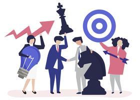 Gens d'affaires détenant objectif et stratégie illustration d'icônes