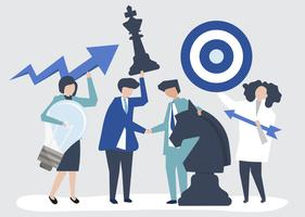 Business people holding goal and strategy icons illustration