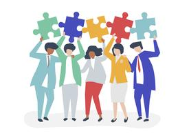 Character of business people holding puzzle pieces illustration vector