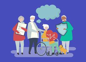 Caratteri della gente senior che tiene l'illustrazione delle icone di sanità