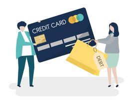 Leutecharaktere und Kreditkarteschuldkonzeptillustration