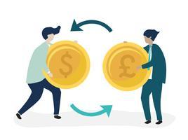 Caractères de deux hommes d'affaires échangeant une illustration monétaire