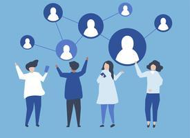 Personaggi delle persone e la loro illustrazione dei social network