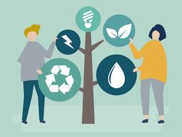 Personagens de pessoas uma árvore de ícones ambientais ilustração