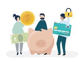 Gente que tiene ahorros y seguridad iconos ilustración