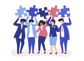 Character of business people holding puzzle pieces illustration