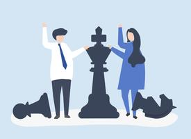 Business people with giant chess pieces vector