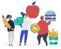 Personagens de pessoas segurando a ilustração de ícones de comida