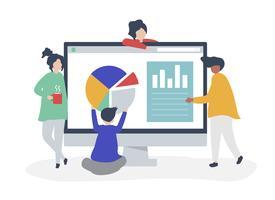 Tecken på personer som analyserar grafer och diagram illustration
