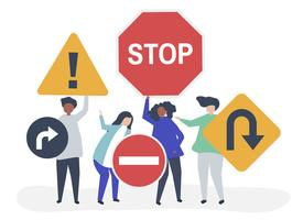 Character illustration of people with traffic sign icons