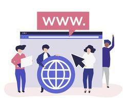 Personagens de pessoas segurando a ilustração de ícones de pesquisa na internet