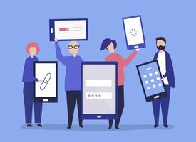 Charaktere von den Leuten, die riesige Illustration der digitalen Geräte halten