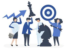 Bedrijfsmensen die doel en strategiepictogrammenillustratie houden